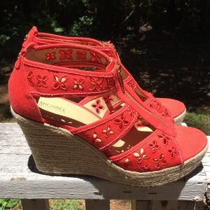 Micheal Micheal Kors  Red Wedges